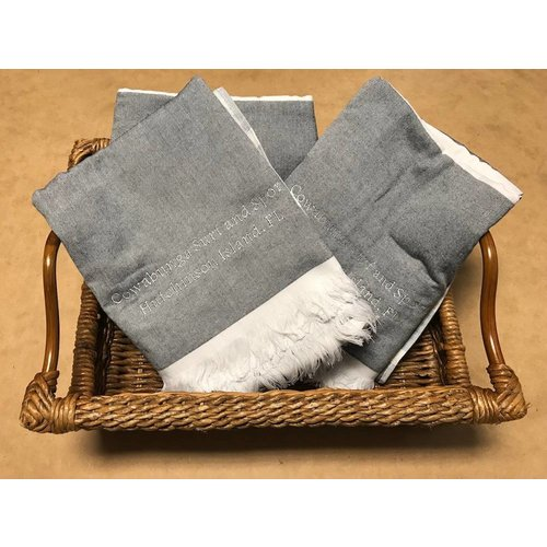 NOSTALGIC EMBROIDERED TOWEL, BLUE/GREY