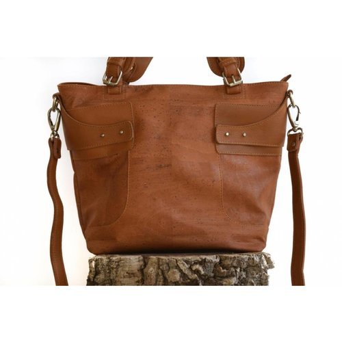 CORK TREE DESIGNS DARK BROWN CORK HANDBAG