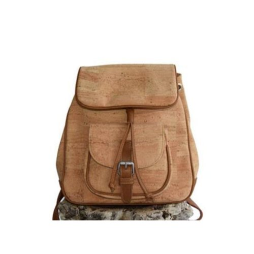 CORK TREE DESIGNS NATURAL CORK & LEATHER MEDIUM BACKPACK