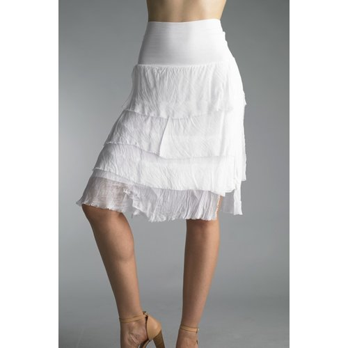 TEMPO PARIS SILK FLUTTER SKIRT, WHITE
