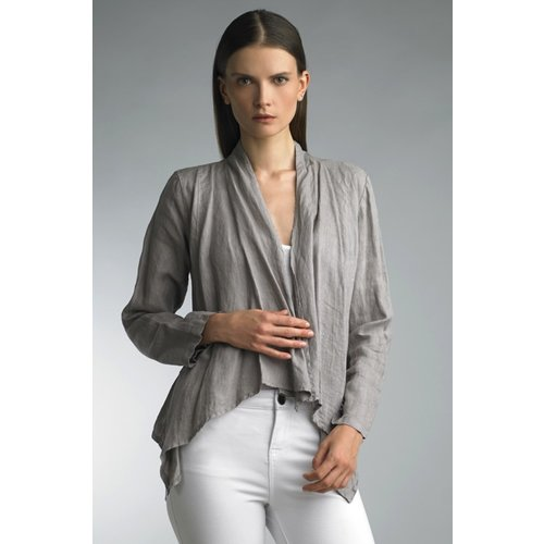 TEMPO PARIS CROPPED LINEN JACKET