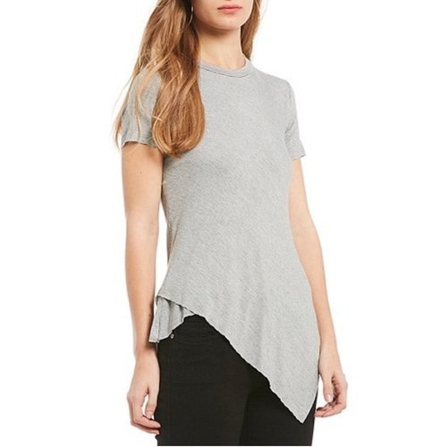 ELAN SOFT TEE WITH ASYMMETRICAL HEM, BLACK