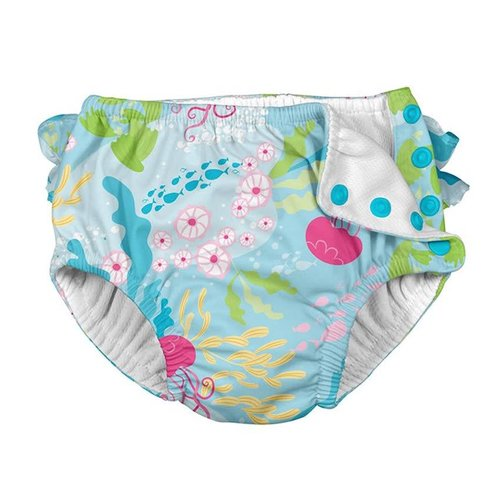 IPLAY REUSABLE SWIM DIAPER, AQUA CORAL REEF