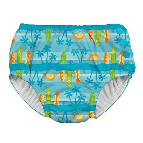 IPLAY REUSABLE SWIM DIAPER, AQUA SURFBOARD SUNSET