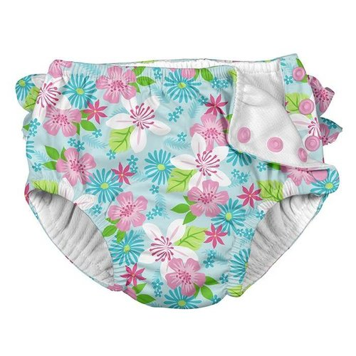 IPLAY REUSABLE SWIM DIAPER, LIGHT AQUA PARADISE