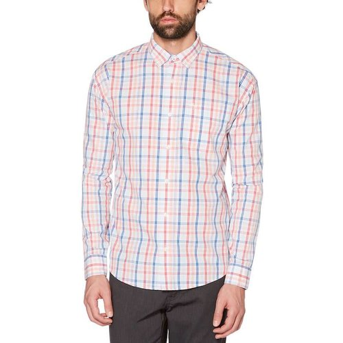 ORIGINAL PENGUIN PLAID STRETCH COTTON L/S SHIRT