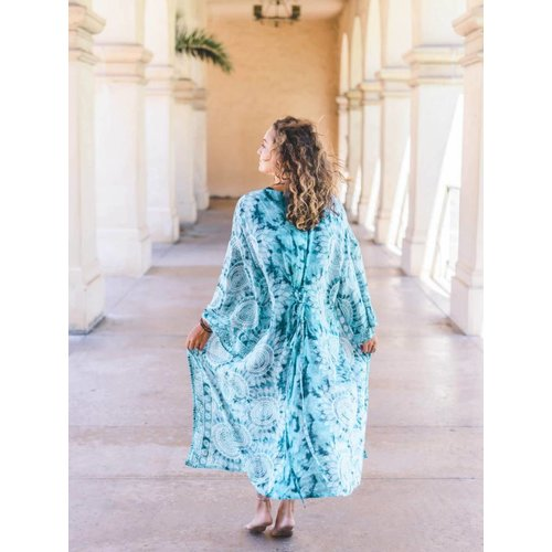 LOTUS AND LUNA CATALINA MAXI TIE BACK KIMONO