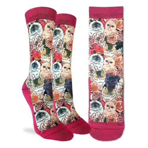 GOOD LUCK SOCK FLORAL CATS WOMENS SOCKS