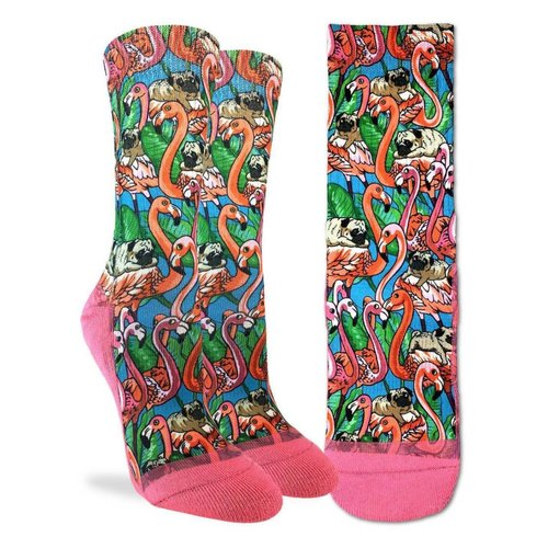 GOOD LUCK SOCK PUGS & FLAMINGOS WOMENS SOCKS