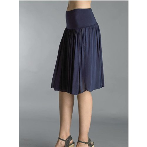 TEMPO PARIS SILK SKIRT WITH KNIT WAISTBAND