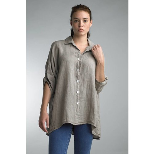 TEMPO PARIS OVERSIZED LINEN TOP