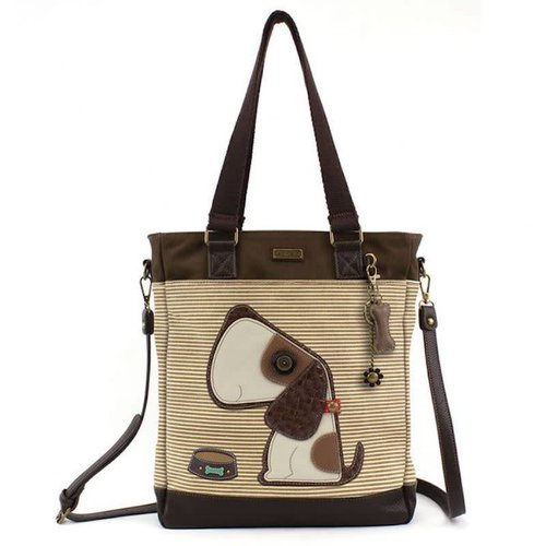 CHALA HANDBAGS BROWN STRIPED DOG WORK TOTE
