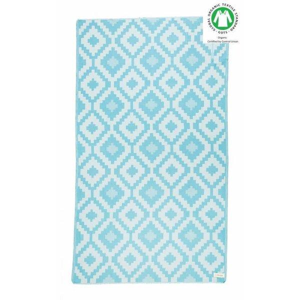 BARBADOS ORGANIC TURKISH TOWEL, AQUA, 37 X 70