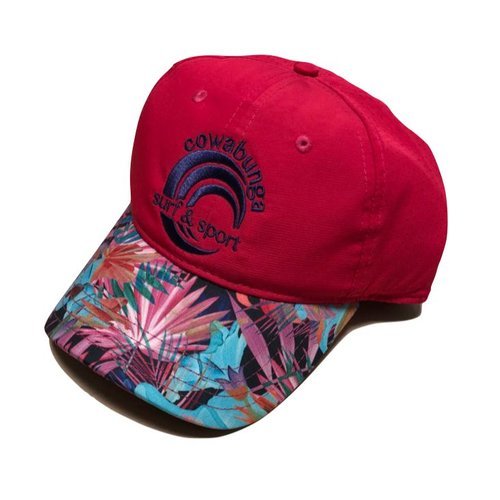 COWABUNGA NYLON HAT, HOT PINK TROPICAL