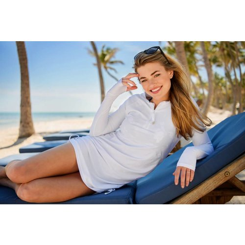 SNAPPER ROCK WHITE RUCHED L/S SWIM DRESS