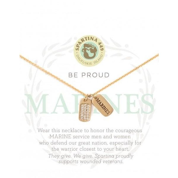 """""""BE PROUD"""" MFM MARINES NECKLACE, GOLD"""