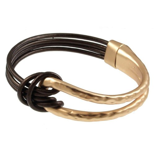 ORIGIN JEWELRY LEATHER & METAL KNOT BRACELET