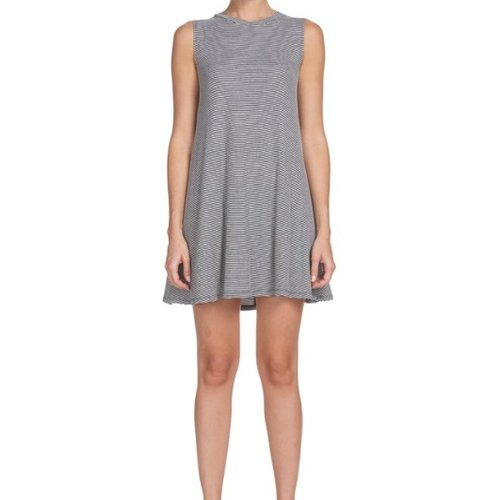 ELAN JEWEL NECK STRIPE DRESS