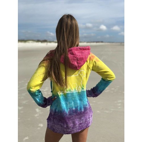 BUDDY BY THE SEA TIE DYE YOUTH HOODED SWEATSHIRT, RAINBOW
