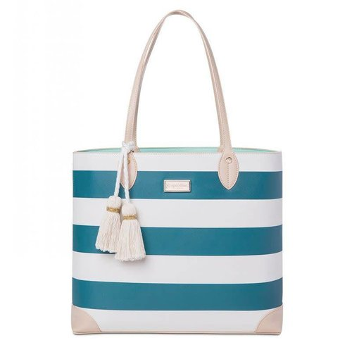 SPARTINA 449 AKA MONOGRAM TOTE, NAVY STRIPE