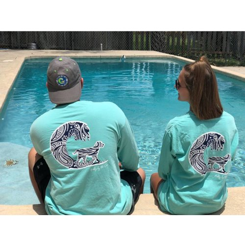 BUDDY BY THE SEA PAISLEY WAVE DOG L/S TEE, TEAL