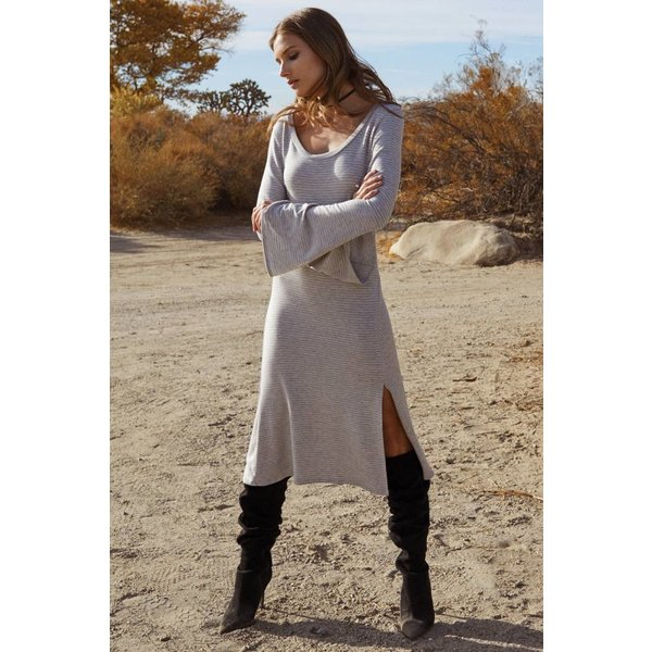 BELL SLEEVED DRESS WITH SIDE SLIT, HEATHER GREY S