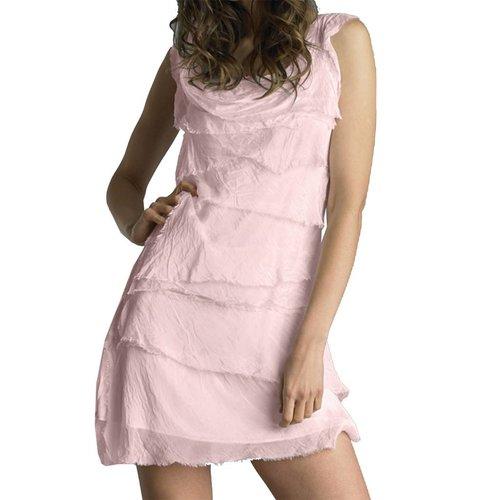 TEMPO PARIS SILK FLUTTER DRESS, BLUSH