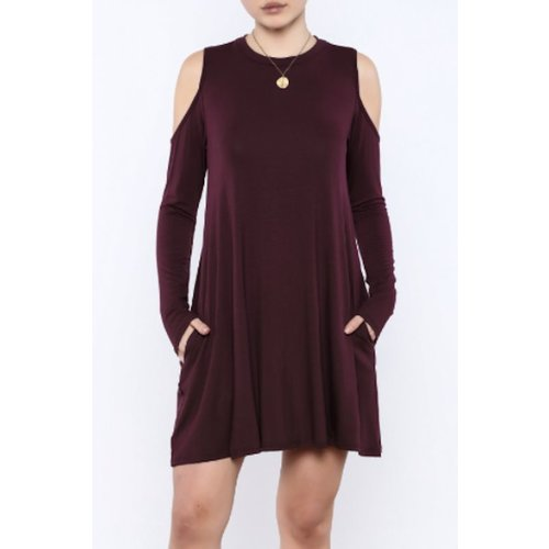 ELAN COLD SHOULDER SWING DRESS, MERLOT