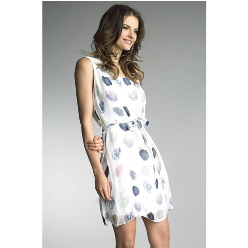 TEMPO PARIS SILK POLKA DOT DRESS, WHITE