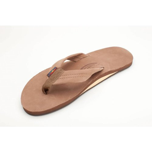 SINGLE LAYER LEATHER MENS SANDALS, DK BROWN