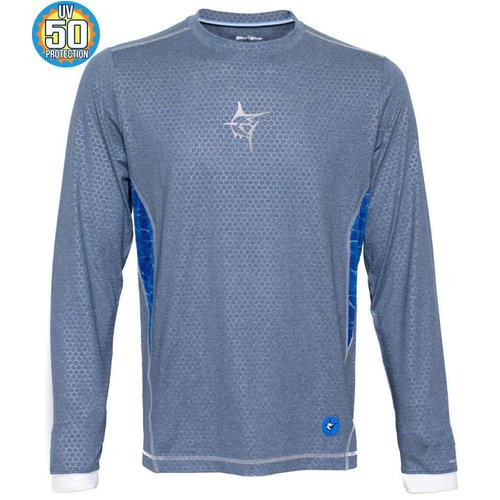 WHITE WATER TECHNO FLEX PERFORMANCE SHIRT, BLUE GREY