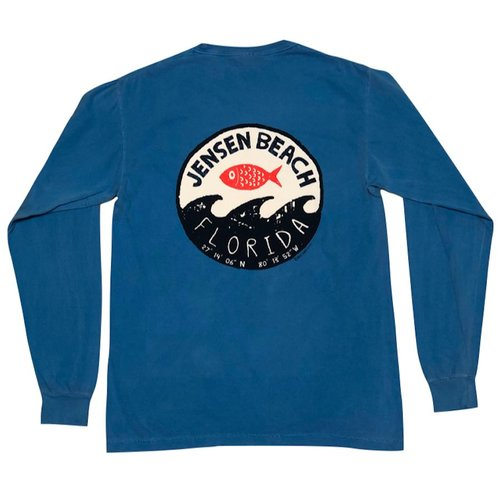 BIG HED STAMP WAVE L/S TEE, JENSEN BEACH