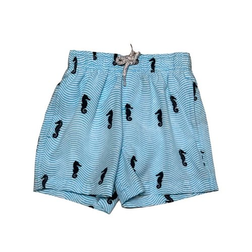 VINTAGE SUMMER BOYS SWIM TRUNKS, LT BLUE SEAHORSE