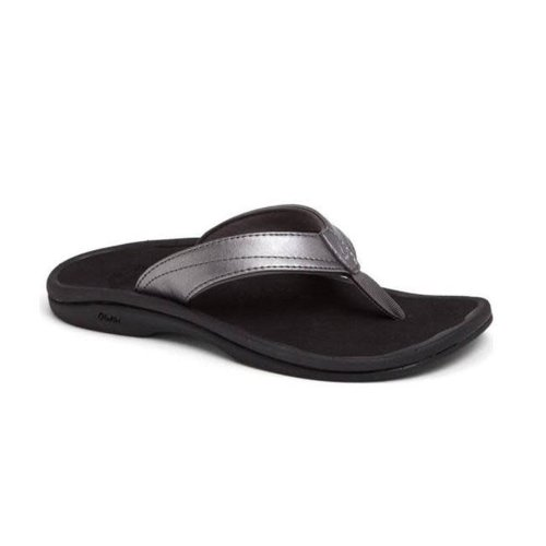 OLUKAI OHANA LADIES SANDALS, PEWTER/BLACK