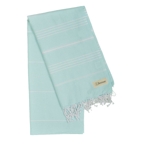 "BERSUSE TOWELS ANATOLIA ORGANIC COTTON TURKISH TOWEL, AQUAMARINE 37"" X 70"""