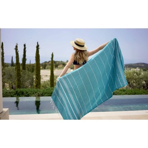 BERSUSE TOWELS ANATOLIA ORGANIC COTTON TURKISH TOWEL, TEAL, 37 x 70