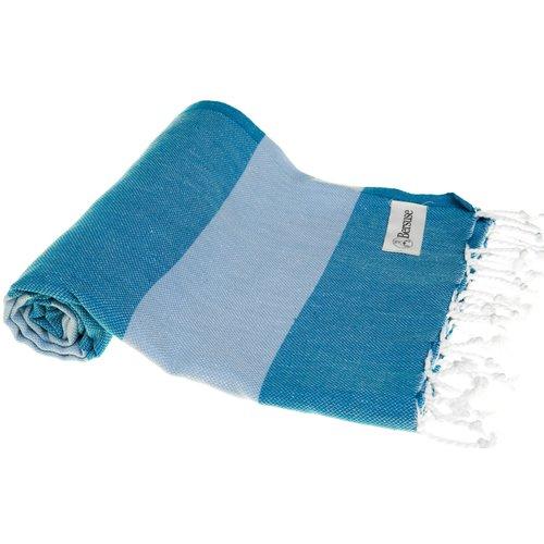 BERSUSE TOWELS CAYMAN ORGANIC TURKISH TOWEL, BLUE/LT BLUE, 37 X 70