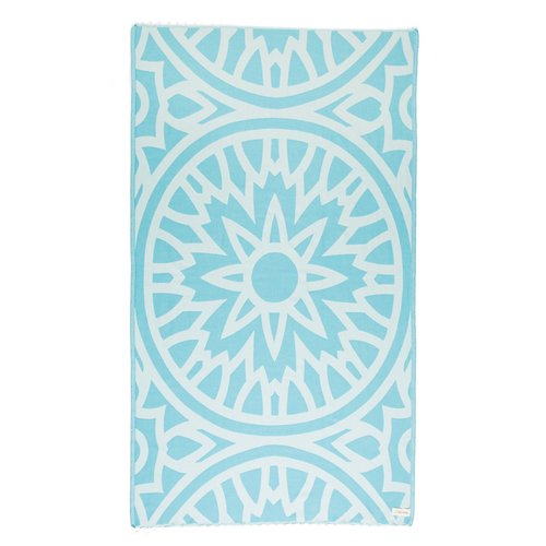 BERSUSE TOWELS FLAMENCO ORGANIC TURKISH TOWEL, AQUA 37 X 70