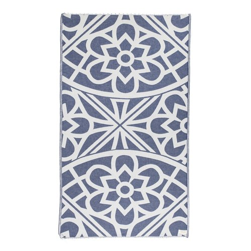 BERSUSE TOWELS SANTORINI ORGANIC TURKISH TOWEL, NAVY, 37 X 70