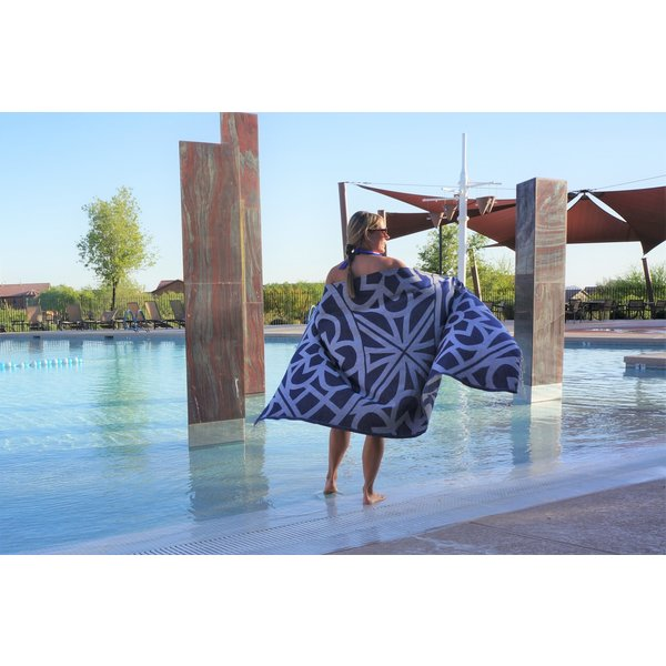 SANTORINI ORGANIC TURKISH TOWEL, NAVY, 37 X 70