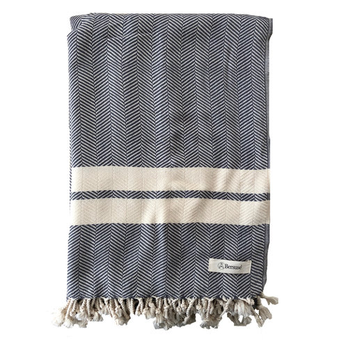 BERSUSE TOWELS HERRINGBONE ORGANIC COTTON BEACH BLANKET, ANTHRACITE 60 X 90