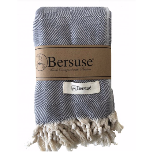 BERSUSE TOWELS MILAS ORGANIC COTTON BEACH BLANKET, GREY 60 X 90