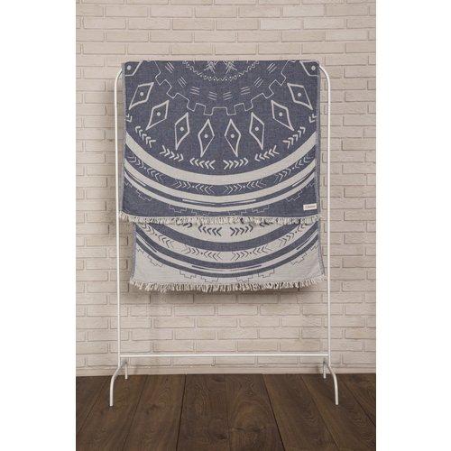 BERSUSE TOWELS KONA ORGANIC TURKISH TOWEL, DK BLUE 37 X 70