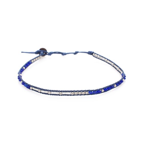 "LOTUS AND LUNA ""BABY BLUES"" CHOKER / DOUBLE WRAP BRACELET"
