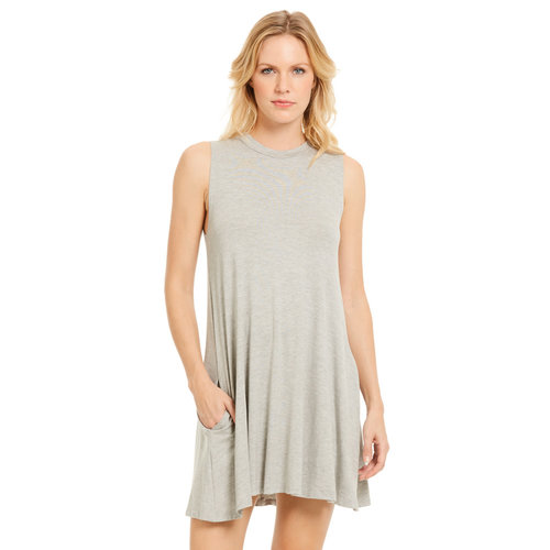 ELAN JEWEL NECK SWING DRESS, HEATHER GREY