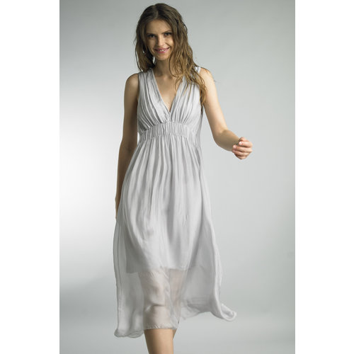 TEMPO PARIS GRECIAN STYLE SILK DRESS, SILVER