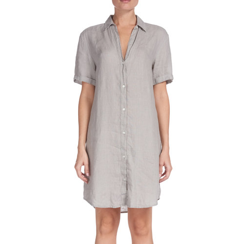 ELAN LINEN BUTTON DOWN DRESS, TAN
