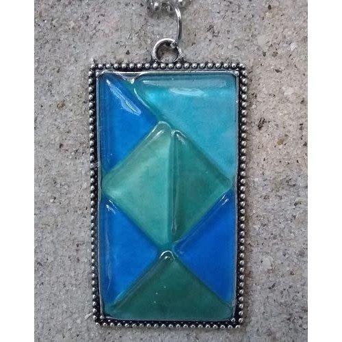 BEACH JEWELRY DESIGNS SEAGLASS MOSAIC PENDANT, BLUE/GREEN LARGE