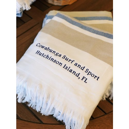 NOSTALGIC EMBROIDERED TOWEL, NAVY