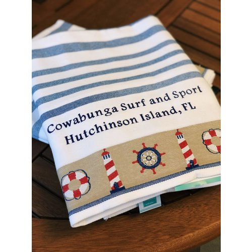 VANGUARD EMBROIDERED TOWEL, NAVY NAUTICAL